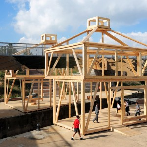 Photo of wooden frame structure